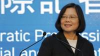 Democratic Progressive Party (DPP) chairperson and presidential candidate Tsai Ing-wen announces her election victory
