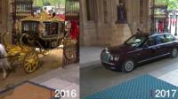 Queen arriving at Parliament in 2016 and 2017