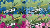 Four examples of REN TV clips which show military hardware that is named after flowers