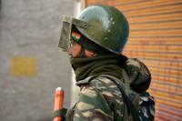 An Indian paramilitary officer in Kashmir
