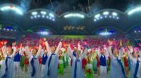 Performers in Pyongyang's stadium