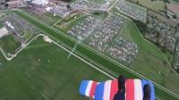 RAF Falcons parachuting in