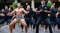 Jonah Lomu and the Ngati Ranana London Maori Club perform a haka