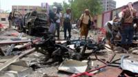 Aftermath of Aden suicide bomb attack
