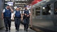 Police officers at Thalys train station in Brussels