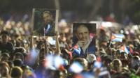 Castro rally in Santiago