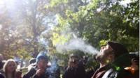 Cannabis users celebrate legalisation at Trinity Bellwoods Park in downtown Toronto
