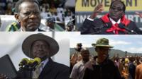A collection of images showing Uganda's President Yoweri Museveni, Equatorial Guinea President Teodoro Obiang Nguema, Rwandan President Paul Kagame and Zimbawe's President Robert Mugabe
