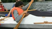 The kayak was given a launch on the River Taff from Llandaff rowing club