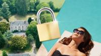 A person sunbathing next to a luxury property with a padlock in the middle