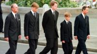 Royals walking in Princess Diana funeral procession