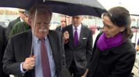 US National Security Adviser John Bolton speaks to the BBC's Sarah Rainsford in Moscow