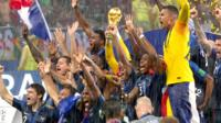 France lift the World Cup trophy