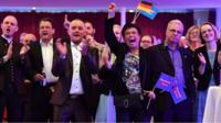 AfD supporters react to exit polls