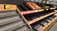 Empty shelves in Australian supermarket