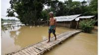 A flooded area at a village in Nagaon district, in Assam, India