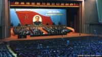 "Picture taken in October 1980 and released by North Korea""s official Korean Central News Agency on October 30, 2015, shows a general view during the sixth Congress of the Workers"" Party of Korea"