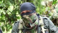 An ELN guerrilla speaks to the BBC