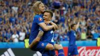 Arnor Ingvi Traustason celebrates with Birkir Bjarnason after scoring the second goal