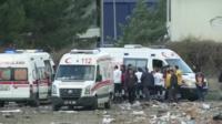 Ambulances in Diyarbakir, Turkey, after bomb blast