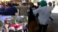 People dancing at Egyptian polling stations.