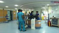 An NHS hospital nurse station