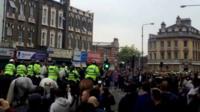 Police horses on Barking Road, Upton Park, London