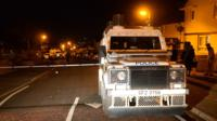 A police Land Rover at the scene of the shooting