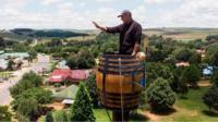 Vernon Kruger in a barrel