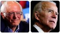 Democrat frontrunners Joe Biden and Bernie Sanders gave victory speeches on Super Tuesday night and made some not-so-subtle digs at each other.