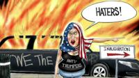 A cartoon of the inauguration day riots