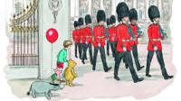 Winnie-the-Pooh and friends watch the Queen's guards marching