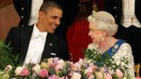 Queen Elizabeth II and US President Barack Obama during a State Banquet in Buckingham Palace
