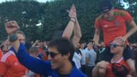Fans in the Paris fan zone