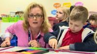 Teaching numbers at Oldcastle Primary School in Bridgend