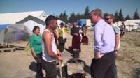 Tim Farron at refugee camp