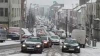 Traffic struggles through Omagh snow