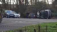 Car crash scene aftermath