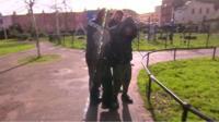 Police apprehending a man