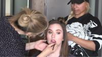 Marianna Brady having her make-up done