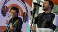"""John Taylor and Simon Le Bon perform with their band Duran Duran on NBC's """"Today"""" show in New York September 17, 2015."""