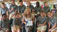 Jenny with school pupils in South Africa