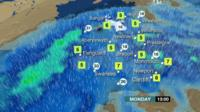 Heavy rain moving across a map of Wales
