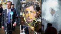 Politicians covered in milkshake, eggs, flour