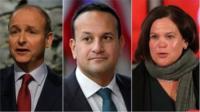 Micheál Martin (Fianna Fáil), Leo Varadkar (Fine Gael) and Mary Lou McDonald (Sinn Féin)