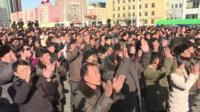 Crowds in Pyongyang