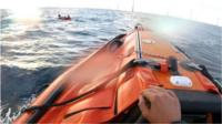 A lifeboat was launched and found the man with his legs dangling over the side of the £10 toy dinghy.