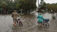Flooded street in Louisiana, USA