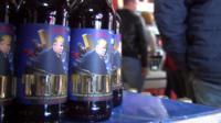 Trump beer bottles in Ukraine brewery