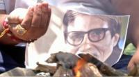 Fans conducting a fire ritual for Amitabh Bachchan's health